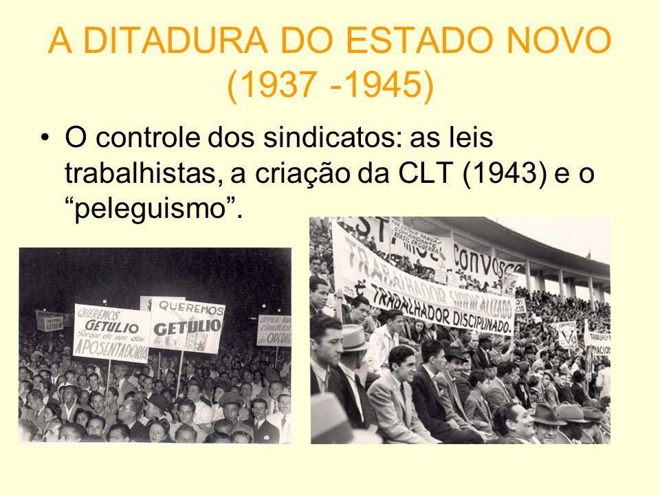 A DITADURA DO ESTADO NOVO (1937 -1945) O controle dos sindicatos: as leis trabalhistas, a criação da CLT (1943) e o peleguismo.