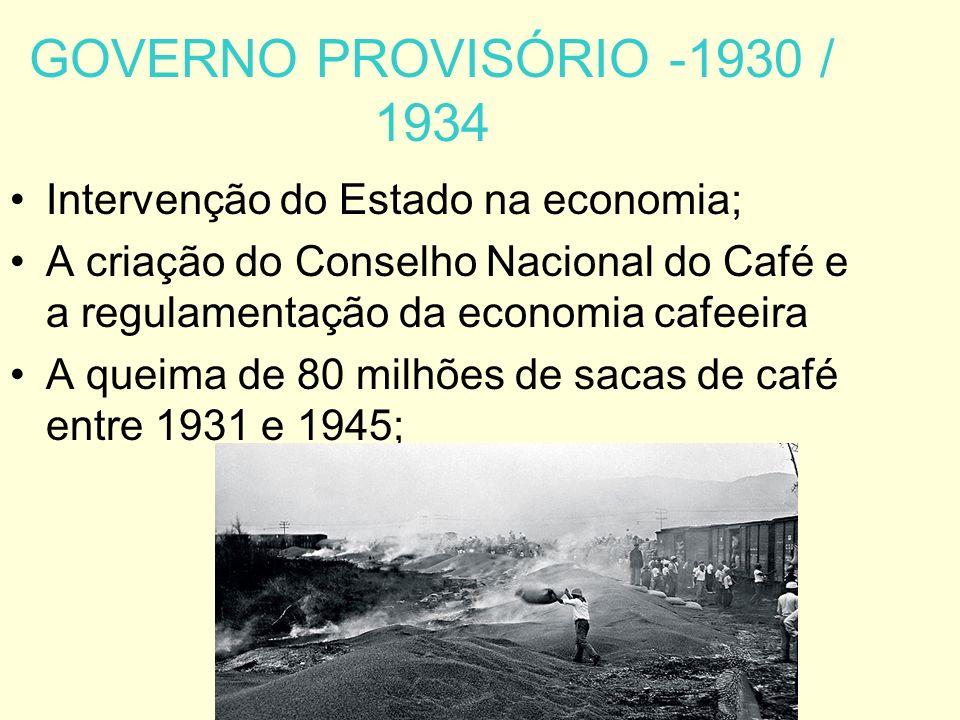 GOVERNO PROVISÓRIO -1930 / 1934 Intervenção do Estado na economia; A criação do Conselho Nacional do Café e a regulamentação da economia cafeeira A queima de 80 milhões de sacas de café entre 1931 e 1945;