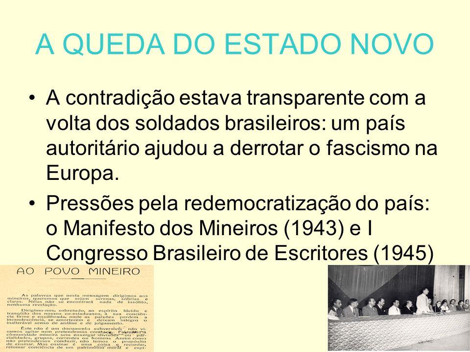 A QUEDA DO ESTADO NOVO A contradição estava transparente com a volta dos soldados brasileiros: um país autoritário ajudou a derrotar o fascismo na Europa.
