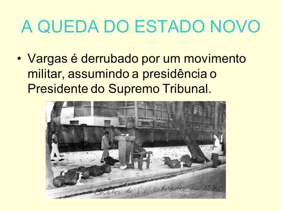 A QUEDA DO ESTADO NOVO Vargas é derrubado por um movimento militar, assumindo a presidência o Presidente do Supremo Tribunal.