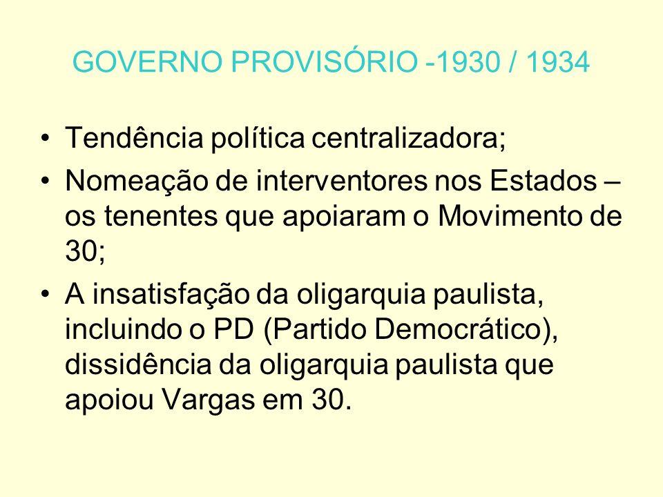 GOVERNO PROVISÓRIO -1930 / 1934 Tendência política centralizadora; Nomeação de interventores nos Estados – os tenentes que apoiaram o Movimento de 30; A insatisfação da oligarquia paulista, incluindo o PD (Partido Democrático), dissidência da oligarquia paulista que apoiou Vargas em 30.