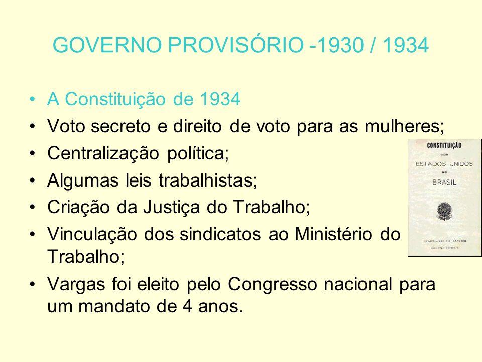 GOVERNO PROVISÓRIO -1930 / 1934 A Constituição de 1934 Voto secreto e direito de voto para as mulheres; Centralização política; Algumas leis trabalhistas; Criação da Justiça do Trabalho; Vinculação dos sindicatos ao Ministério do Trabalho; Vargas foi eleito pelo Congresso nacional para um mandato de 4 anos.