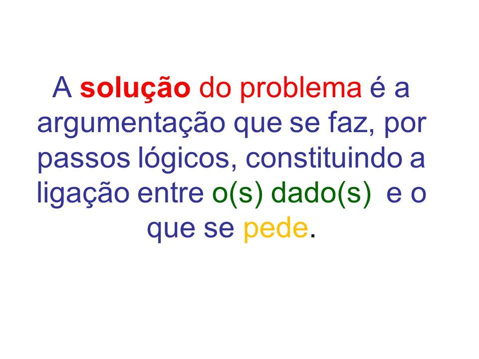 A solução do problema é a argumentação que se faz, por passos lógicos, constituindo a ligação entre o(s) dado(s) e o que se pede.