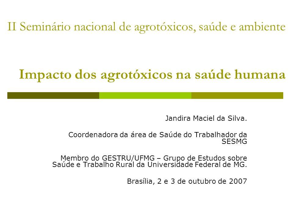 II Seminário nacional de agrotóxicos, saúde e ambiente Impacto dos agrotóxicos na saúde humana Jandira Maciel da Silva. Coordenadora da área de Saúde