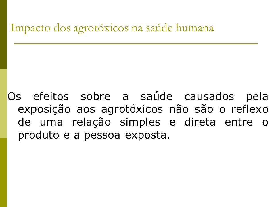 Impacto dos agrotóxicos na saúde humana Os efeitos sobre a saúde causados pela exposição aos agrotóxicos não são o reflexo de uma relação simples e di