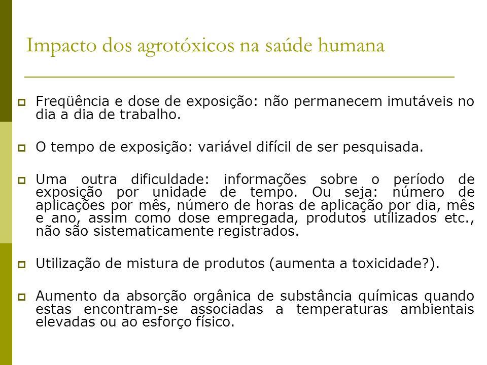 Impacto dos agrotóxicos na saúde humana Freqüência e dose de exposição: não permanecem imutáveis no dia a dia de trabalho. O tempo de exposição: variá