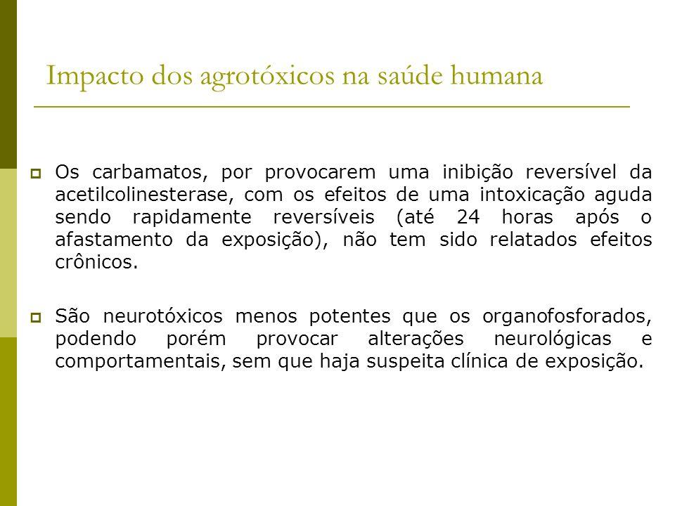 Impacto dos agrotóxicos na saúde humana Os carbamatos, por provocarem uma inibição reversível da acetilcolinesterase, com os efeitos de uma intoxicaçã