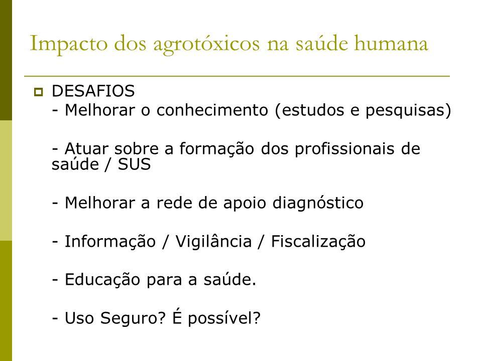 Impacto dos agrotóxicos na saúde humana DESAFIOS - Melhorar o conhecimento (estudos e pesquisas) - Atuar sobre a formação dos profissionais de saúde /
