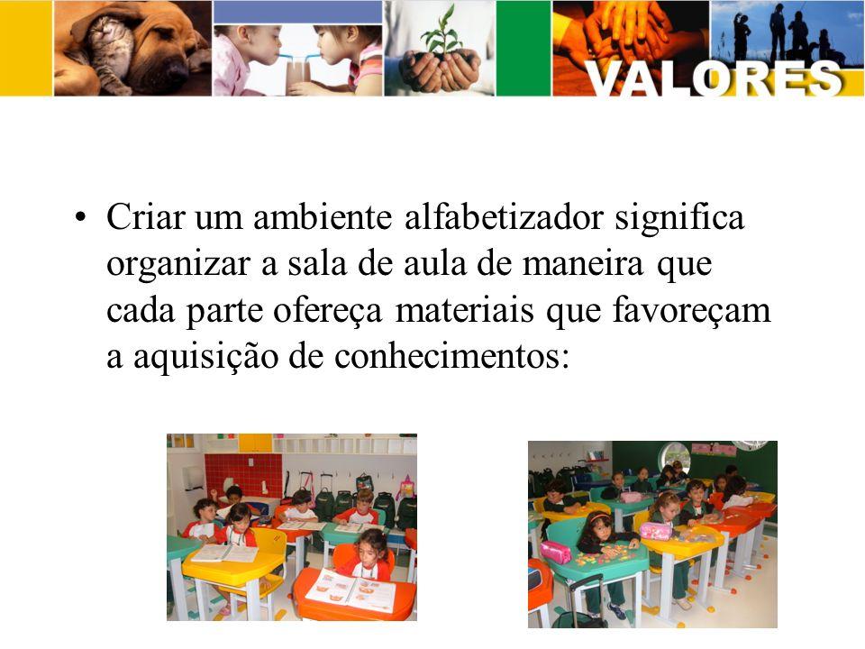 Criar um ambiente alfabetizador significa organizar a sala de aula de maneira que cada parte ofereça materiais que favoreçam a aquisição de conhecimen