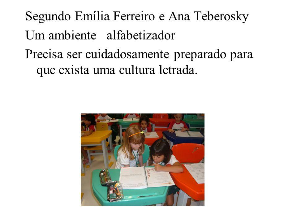 Segundo Emília Ferreiro e Ana Teberosky Um ambiente alfabetizador Precisa ser cuidadosamente preparado para que exista uma cultura letrada.