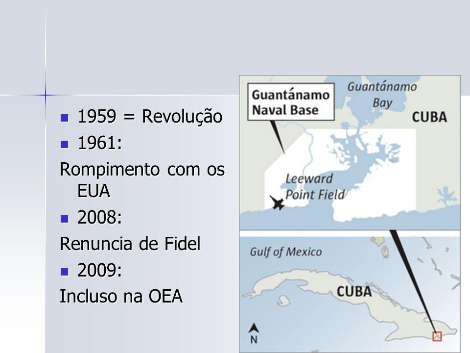 1959 = Revolução 1959 = Revolução 1961: 1961: Rompimento com os EUA 2008: 2008: Renuncia de Fidel 2009: 2009: Incluso na OEA