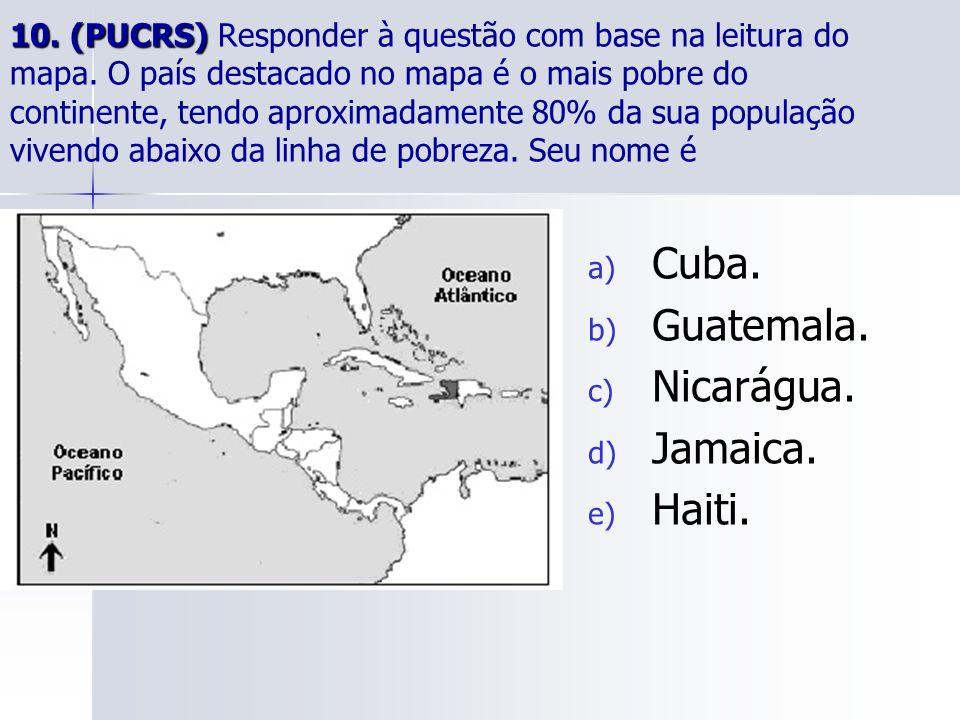 10.(PUCRS) 10. (PUCRS) Responder à questão com base na leitura do mapa.
