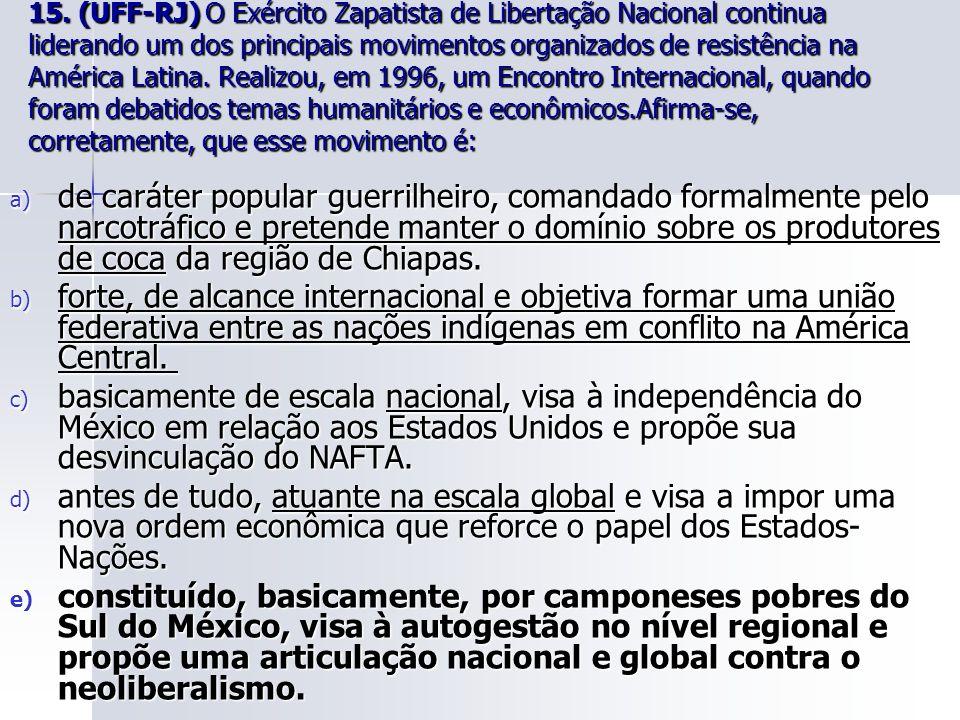 15. (UFF-RJ) O Exército Zapatista de Libertação Nacional continua liderando um dos principais movimentos organizados de resistência na América Latina.