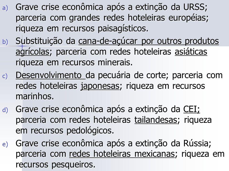 a) Grave crise econômica após a extinção da URSS; parceria com grandes redes hoteleiras européias; riqueza em recursos paisagísticos.