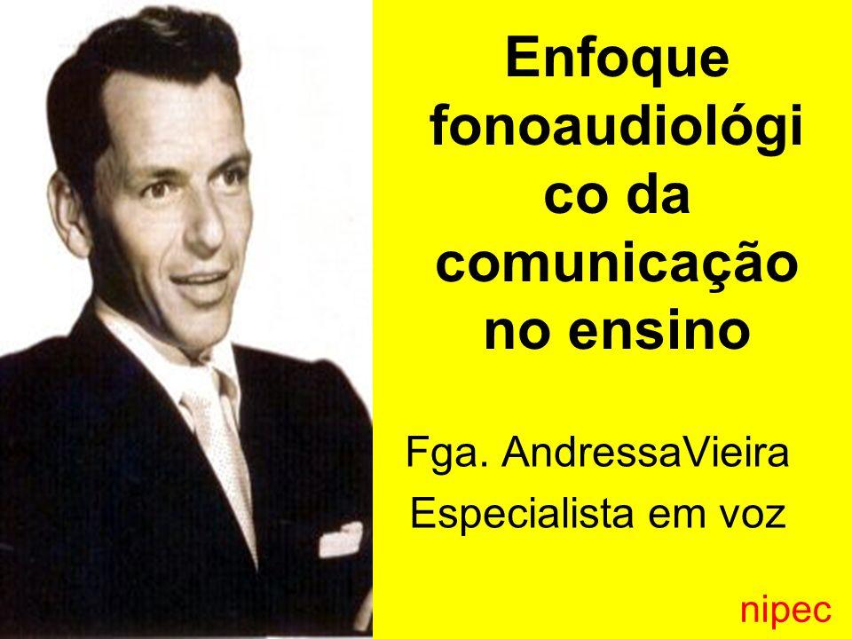 Fga. AndressaVieira Especialista em voz Enfoque fonoaudiológi co da comunicação no ensino