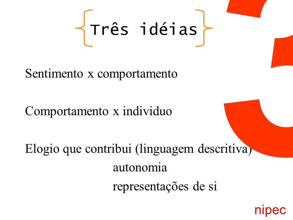 Três idéias Sentimento x comportamento Comportamento x individuo Elogio que contribui (linguagem descritiva) autonomia representações de si nipec 3