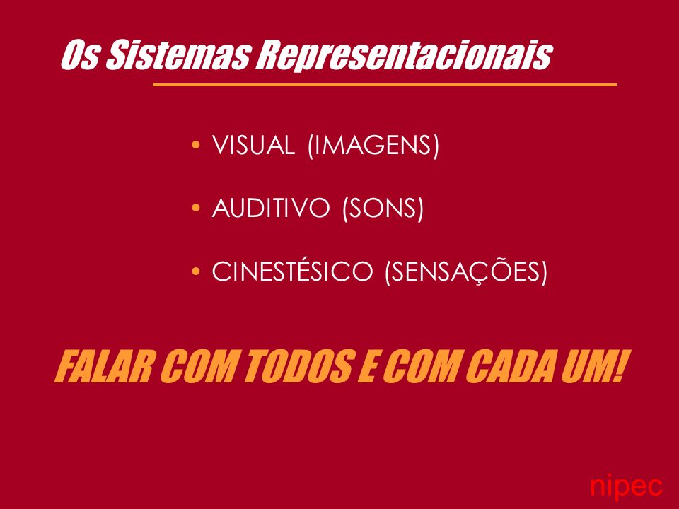 Os Sistemas Representacionais FALAR COM TODOS E COM CADA UM.