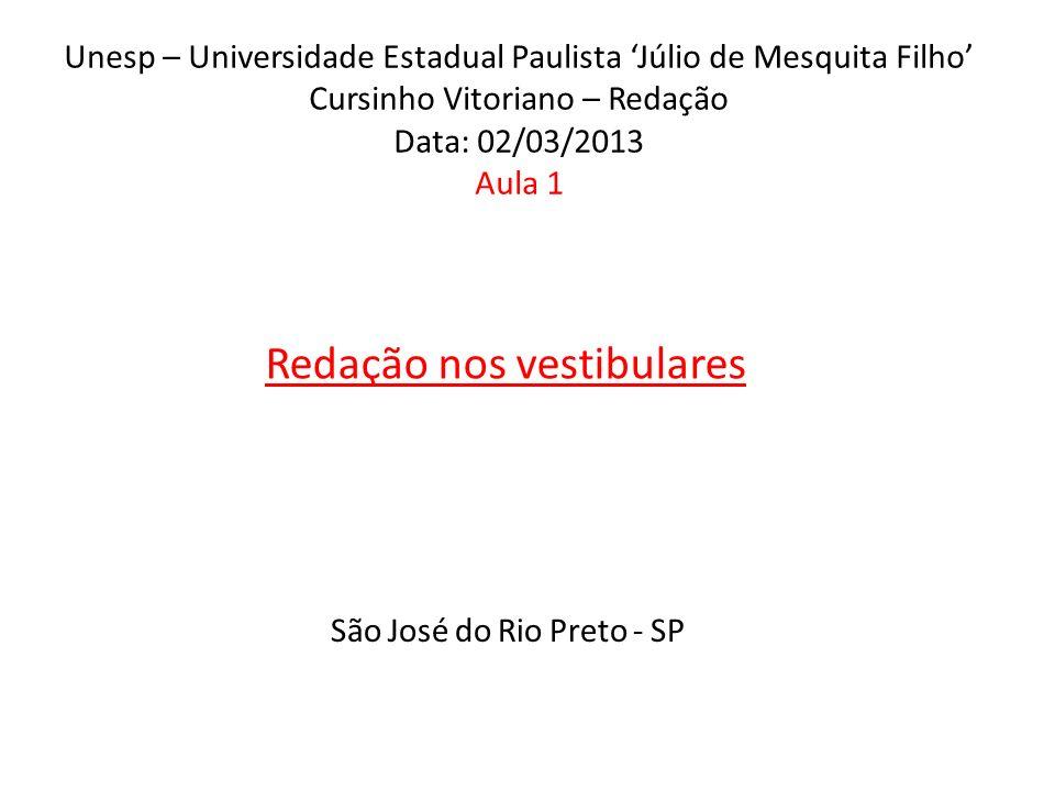 Unesp – Universidade Estadual Paulista Júlio de Mesquita Filho Cursinho Vitoriano – Redação Data: 02/03/2013 Aula 1 Redação nos vestibulares São José