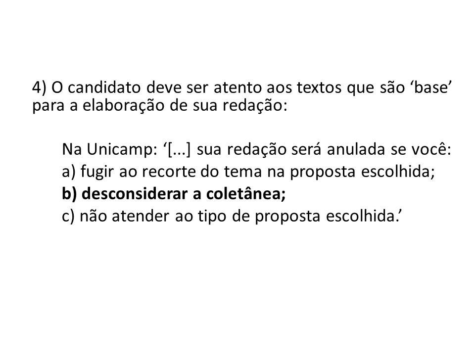 4) O candidato deve ser atento aos textos que são base para a elaboração de sua redação: Na Unicamp: [...] sua redação será anulada se você: a) fugir
