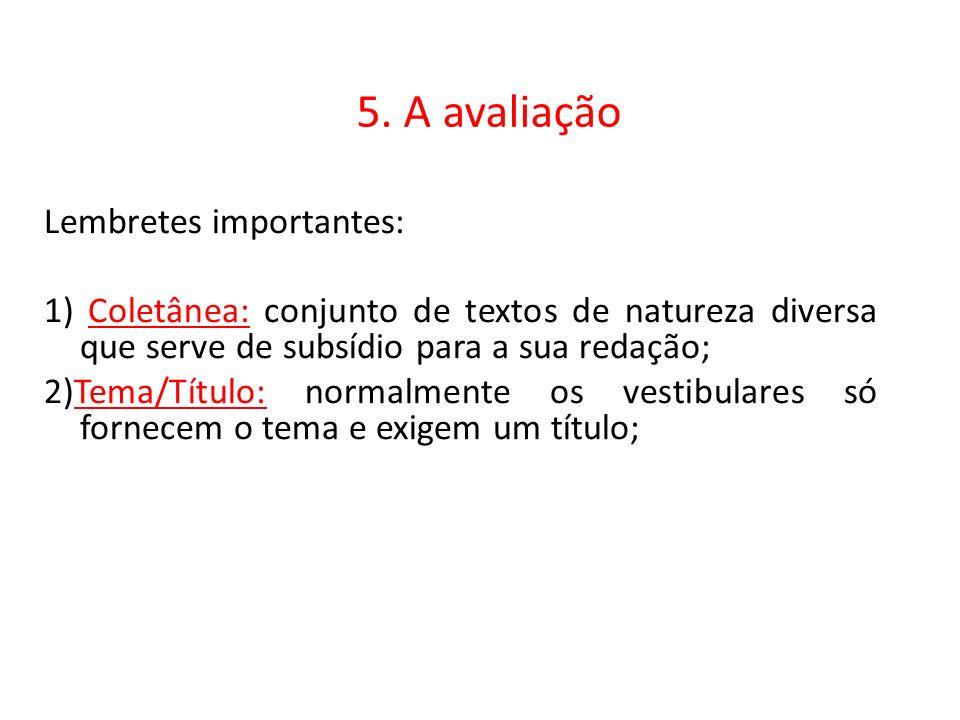 5. A avaliação Lembretes importantes: 1) Coletânea: conjunto de textos de natureza diversa que serve de subsídio para a sua redação; 2)Tema/Título: no