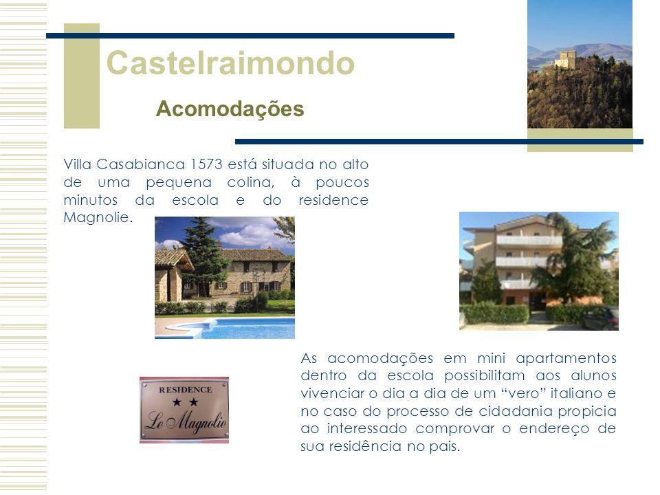 Castelraimondo Acomodações Villa Casabianca 1573 está situada no alto de uma pequena colina, à poucos minutos da escola e do residence Magnolie. As ac
