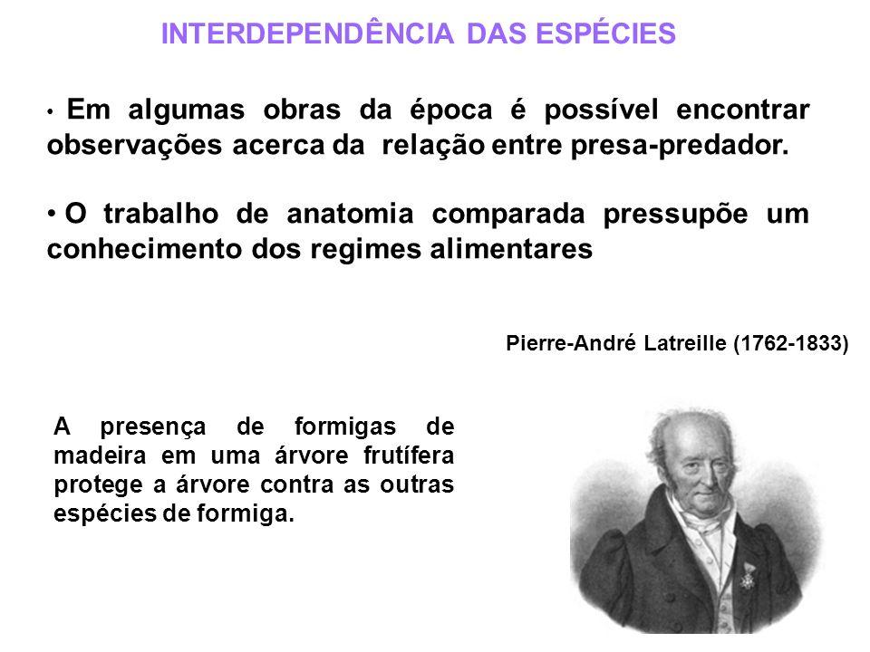 Pierre-André Latreille (1762-1833) INTERDEPENDÊNCIA DAS ESPÉCIES Em algumas obras da época é possível encontrar observações acerca da relação entre pr