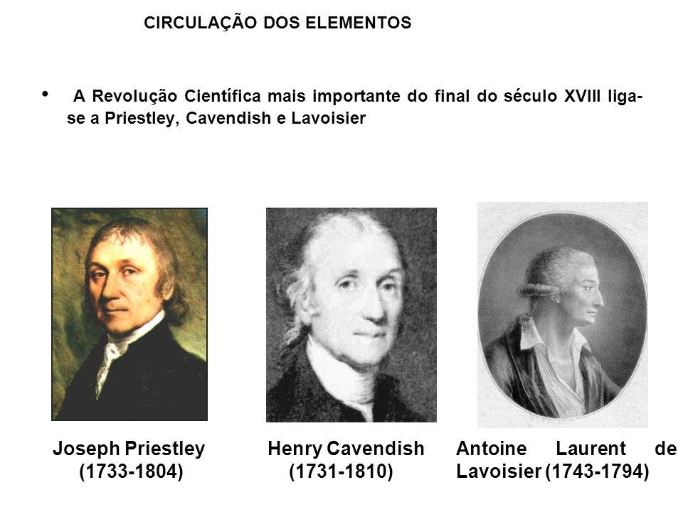 A Revolução Científica mais importante do final do século XVIII liga- se a Priestley, Cavendish e Lavoisier CIRCULAÇÃO DOS ELEMENTOS Joseph Priestley