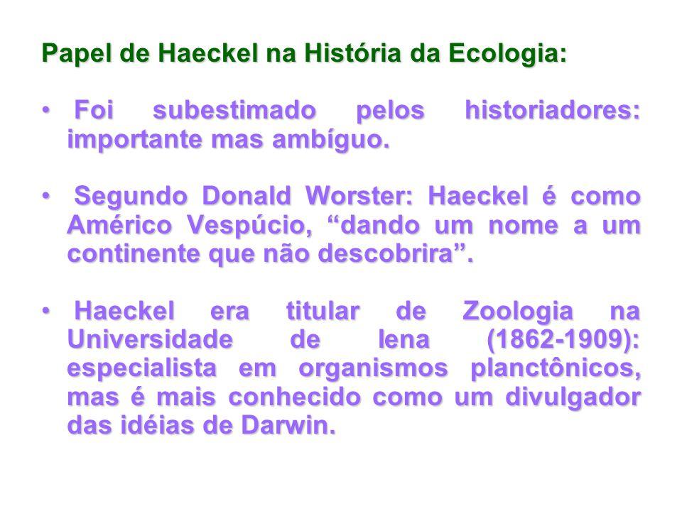Papel de Haeckel na História da Ecologia: Foi subestimado pelos historiadores: importante mas ambíguo. Foi subestimado pelos historiadores: importante