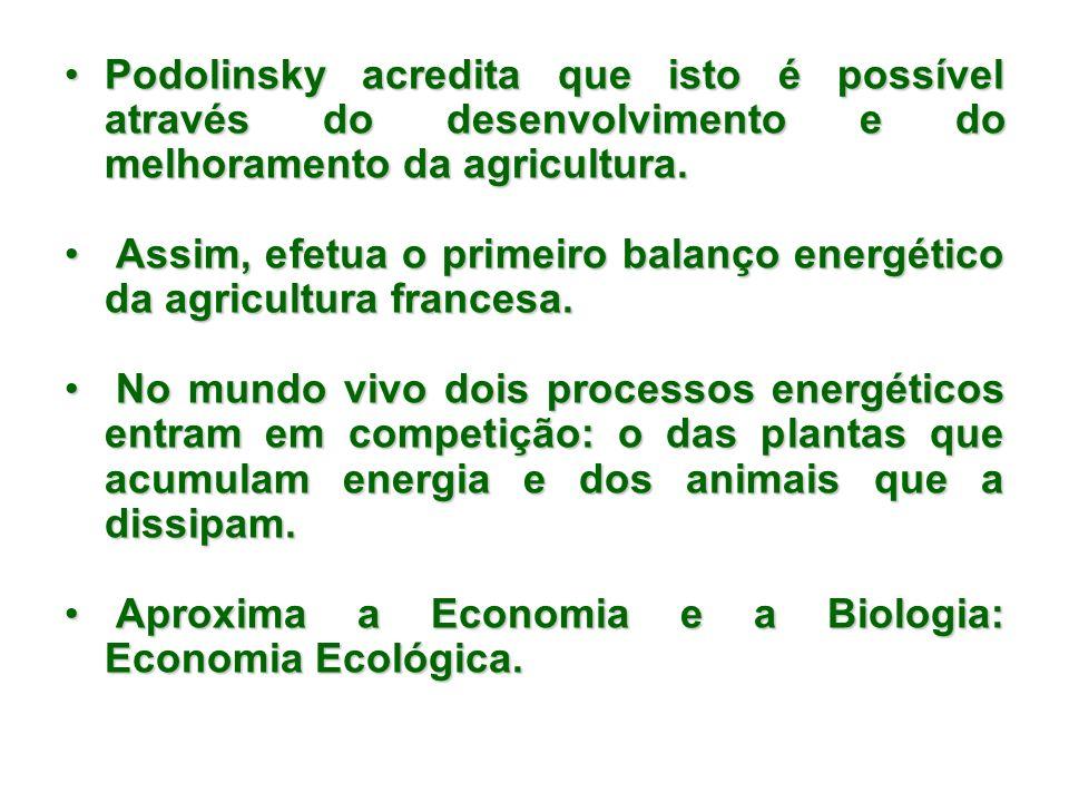 Podolinsky acredita que isto é possível através do desenvolvimento e do melhoramento da agricultura.Podolinsky acredita que isto é possível através do