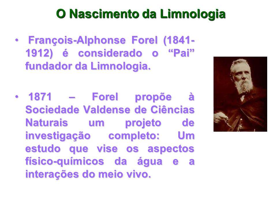 O Nascimento da Limnologia François-Alphonse Forel (1841- 1912) é considerado o Pai fundador da Limnologia. François-Alphonse Forel (1841- 1912) é con
