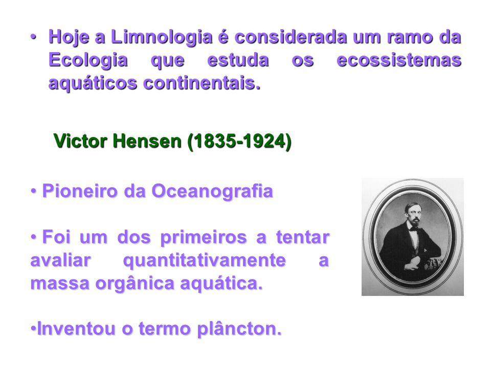 Hoje a Limnologia é considerada um ramo da Ecologia que estuda os ecossistemas aquáticos continentais.Hoje a Limnologia é considerada um ramo da Ecolo