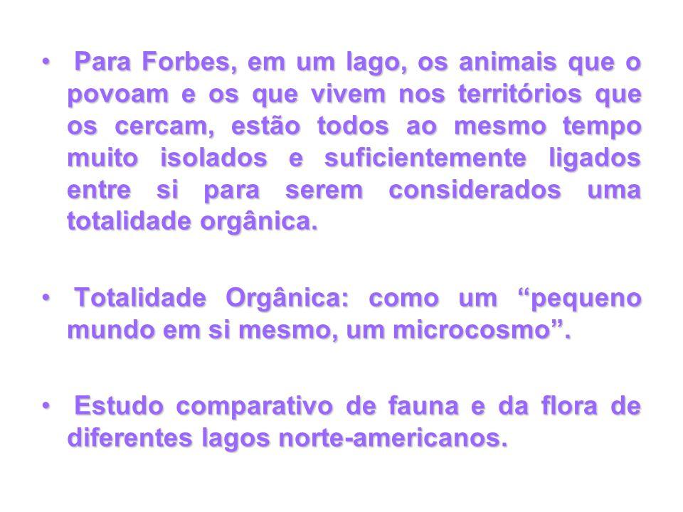 Para Forbes, em um lago, os animais que o povoam e os que vivem nos territórios que os cercam, estão todos ao mesmo tempo muito isolados e suficientem