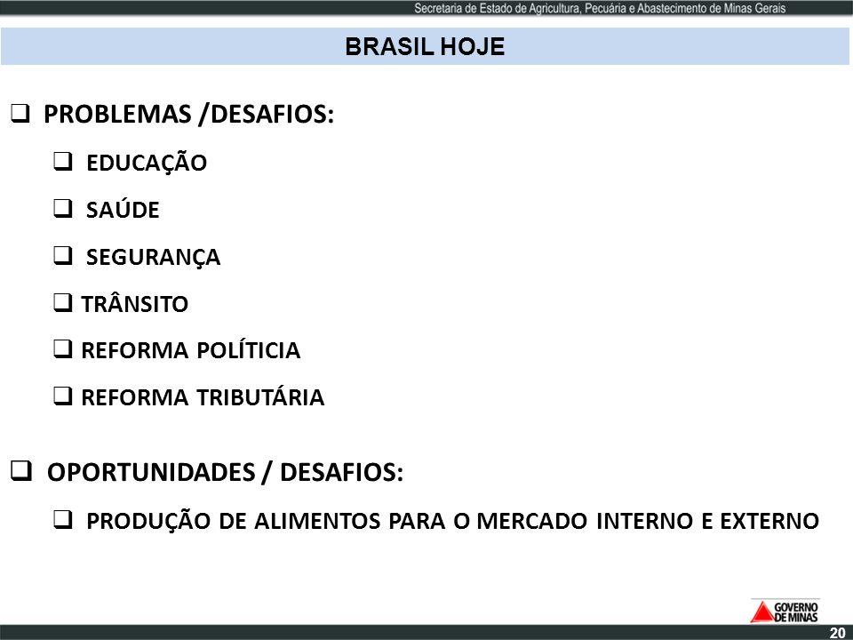 BRASIL HOJE PROBLEMAS /DESAFIOS: EDUCAÇÃO SAÚDE SEGURANÇA TRÂNSITO REFORMA POLÍTICIA REFORMA TRIBUTÁRIA OPORTUNIDADES / DESAFIOS: PRODUÇÃO DE ALIMENTO