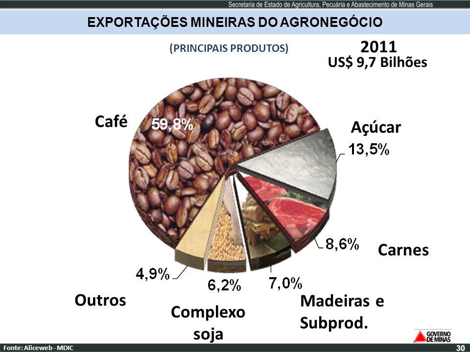 US$ 9,7 Bilhões 2011 30 Fonte: Aliceweb - MDIC EXPORTAÇÕES MINEIRAS DO AGRONEGÓCIO (PRINCIPAIS PRODUTOS) Café Açúcar Carnes Madeiras e Subprod. Comple