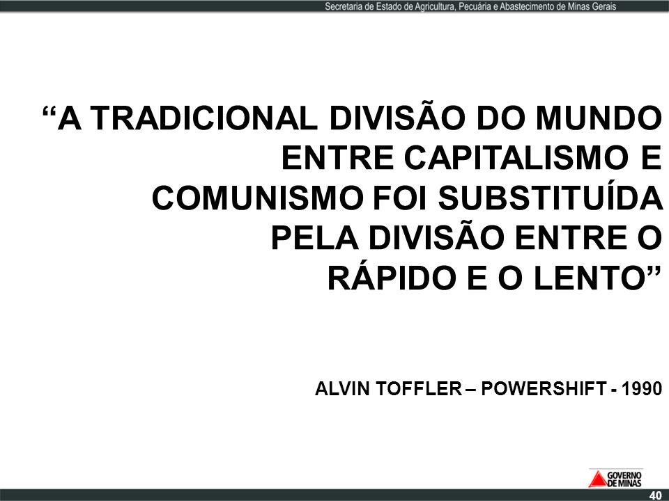 A TRADICIONAL DIVISÃO DO MUNDO ENTRE CAPITALISMO E COMUNISMO FOI SUBSTITUÍDA PELA DIVISÃO ENTRE O RÁPIDO E O LENTO ALVIN TOFFLER – POWERSHIFT - 1990 4