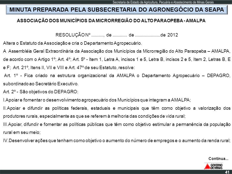 41 MINUTA PREPARADA PELA SUBSECRETARIA DO AGRONEGÓCIO DA SEAPA ASSOCIAÇÃO DOS MUNICÍPIOS DA MICRORREGIÃO DO ALTO PARAOPEBA - AMALPA RESOLUÇÃO Nº......