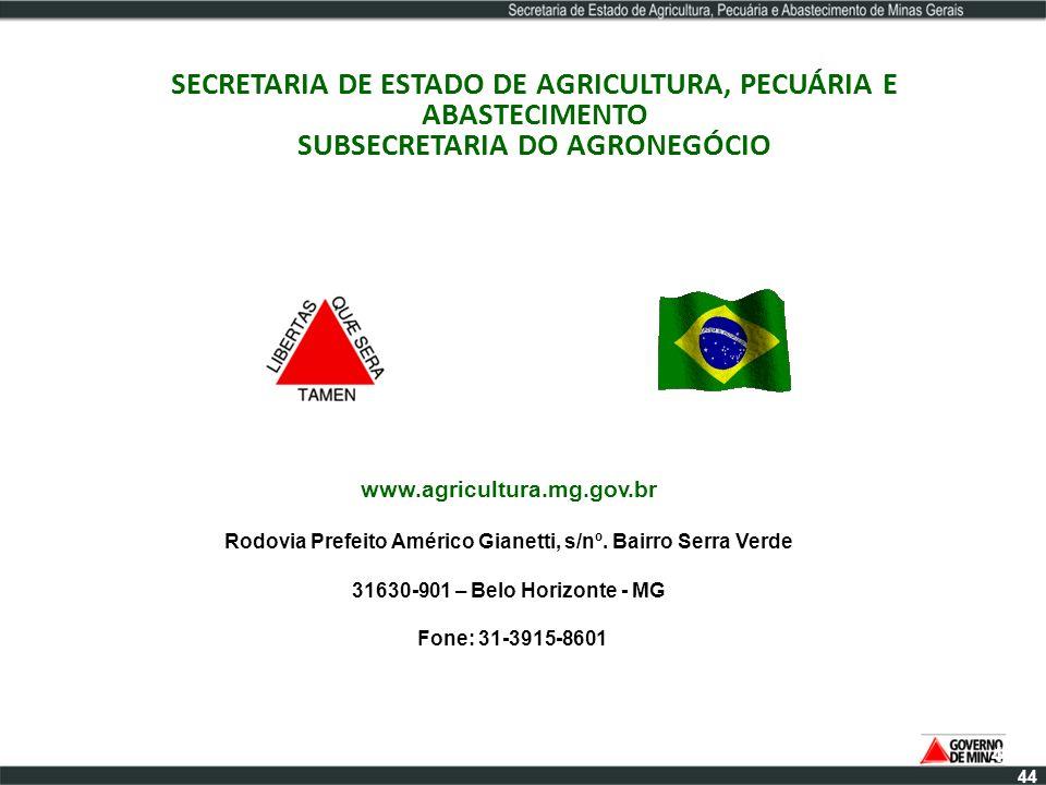 SECRETARIA DE ESTADO DE AGRICULTURA, PECUÁRIA E ABASTECIMENTO SUBSECRETARIA DO AGRONEGÓCIO 44 www.agricultura.mg.gov.br Rodovia Prefeito Américo Giane