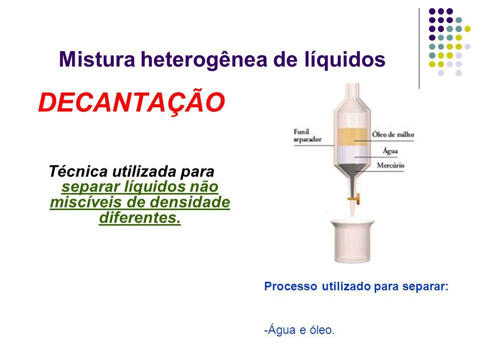 Mistura heterogênea de líquidos DECANTAÇÃO Técnica utilizada para separar líquidos não miscíveis de densidade diferentes. Processo utilizado para sepa