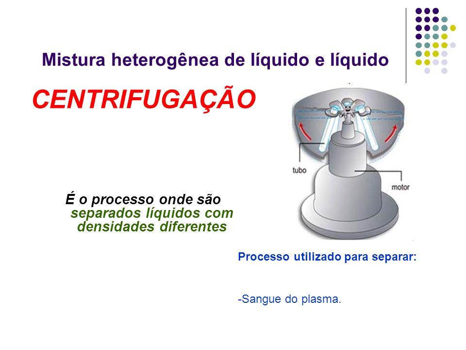 Mistura heterogênea de líquido e líquido CENTRIFUGAÇÃO É o processo onde são separados líquidos com densidades diferentes Processo utilizado para sepa