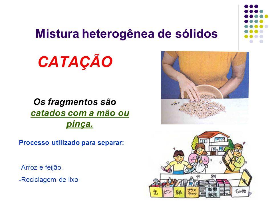 Mistura heterogênea de sólidos CATAÇÃO Os fragmentos são catados com a mão ou pinça. Processo utilizado para separar: -Arroz e feijão. -Reciclagem de