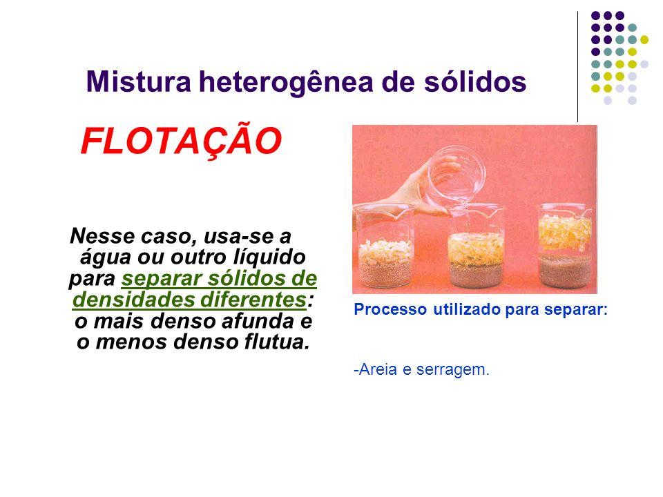 Mistura heterogênea de sólidos FLOTAÇÃO Nesse caso, usa-se a água ou outro líquido para separar sólidos de densidades diferentes: o mais denso afunda