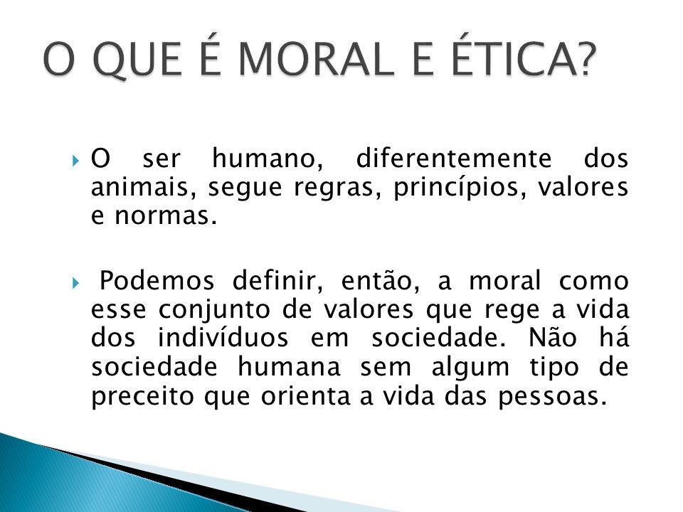 O ser humano, diferentemente dos animais, segue regras, princípios, valores e normas. Podemos definir, então, a moral como esse conjunto de valores qu