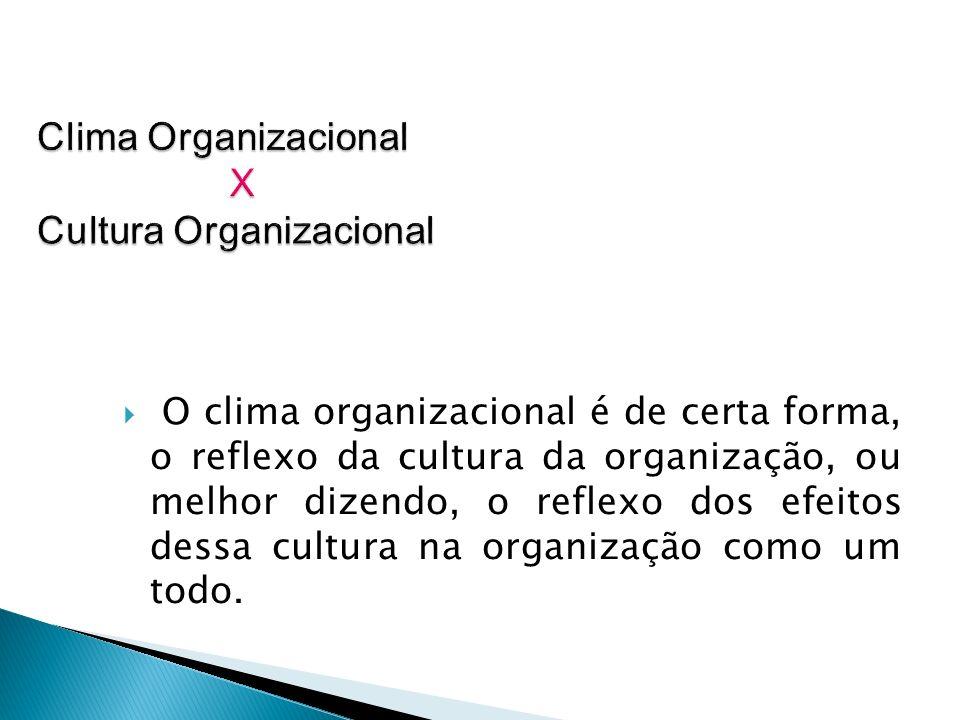 O clima organizacional é de certa forma, o reflexo da cultura da organização, ou melhor dizendo, o reflexo dos efeitos dessa cultura na organização co