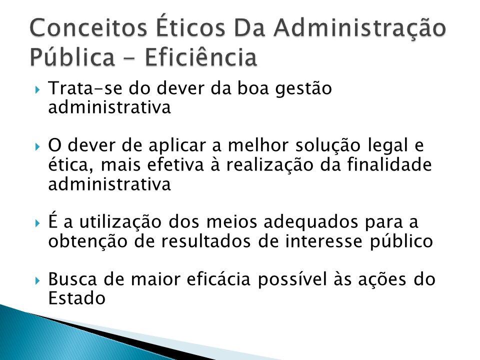 Trata-se do dever da boa gestão administrativa O dever de aplicar a melhor solução legal e ética, mais efetiva à realização da finalidade administrati