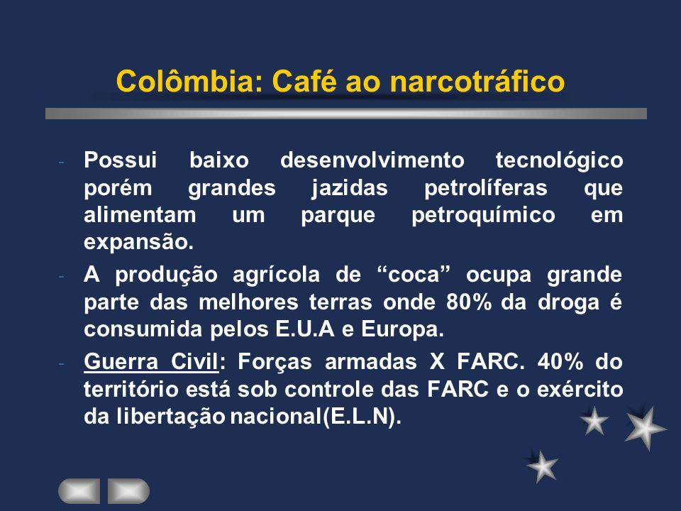 Colômbia: Café ao narcotráfico - Possui baixo desenvolvimento tecnológico porém grandes jazidas petrolíferas que alimentam um parque petroquímico em expansão.