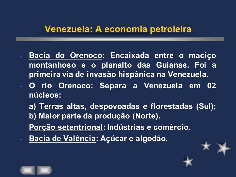 Venezuela: A economia petroleira - Bacia do Orenoco: Encaixada entre o maciço montanhoso e o planalto das Guianas.