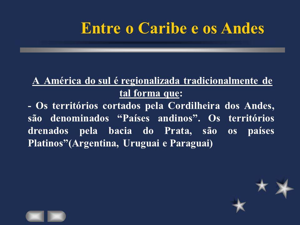 A América do sul é regionalizada tradicionalmente de tal forma que: - Os territórios cortados pela Cordilheira dos Andes, são denominados Países andinos.