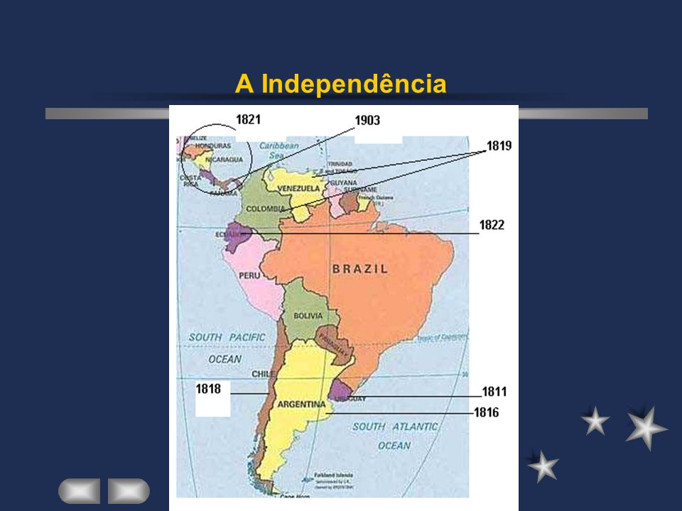 - Da Venezuela( Simon Bolívar), o processo de independência se alastrou e toda a região passou a integrar a Grã- Colômbia.