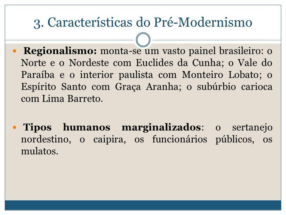 3. Características do Pré-Modernismo Regionalismo: monta-se um vasto painel brasileiro: o Norte e o Nordeste com Euclides da Cunha; o Vale do Paraíba