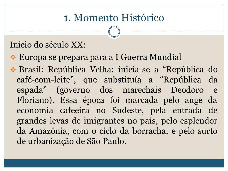 1. Momento Histórico Início do século XX: Europa se prepara para a I Guerra Mundial Brasil: República Velha: inicia-se a República do café-com-leite,